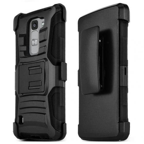 LG Escape 2 (ATT, Cricket) Holster Case, [BLACK] Supreme Protection Hard Plastic on Silicone Skin Dual Layer Hybrid Case w/ Holster