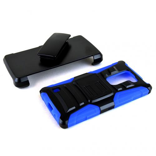 LG Escape 2 (ATT, Cricket) Holster Case, REDshield [BLUE] Supreme Protection Hard Plastic on Silicone Skin Dual Layer Hybrid Case w/ Holster