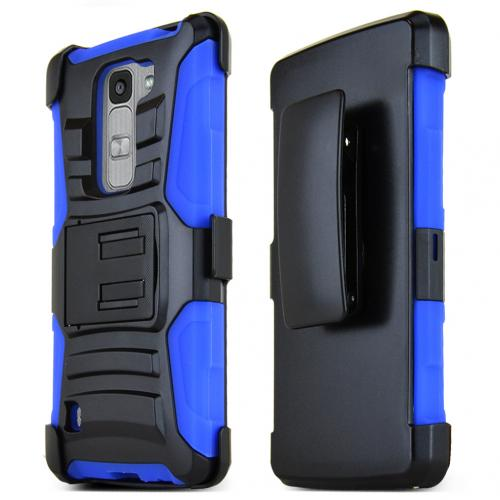 LG Escape 2 (ATT, Cricket) Holster Case, [BLUE] Supreme Protection Hard Plastic on Silicone Skin Dual Layer Hybrid Case w/ Holster