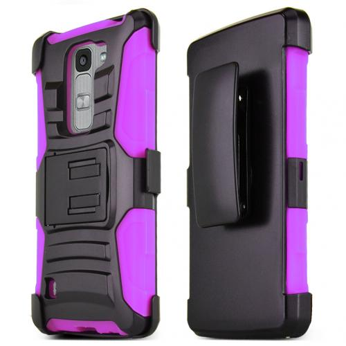 LG Escape 2 (ATT, Cricket) Holster Case, [HOT PINK] Supreme Protection Hard Plastic on Silicone Skin Dual Layer Hybrid Case w/ Holster