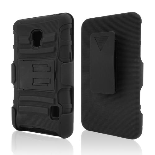 Black Hard Case w/ Kickstand on Black Silicone Skin Case w/ Holster for LG Optimus F6