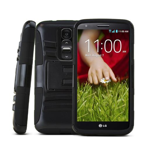 Black LG G2 Mini Hard Case w/ Kickstand on Black Silicone Skin Case w/ Holster