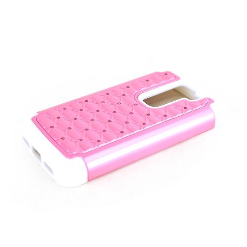 Baby Pink LG G2 Mini Hard Cover w/ Bling Over White Silicone Skin Case