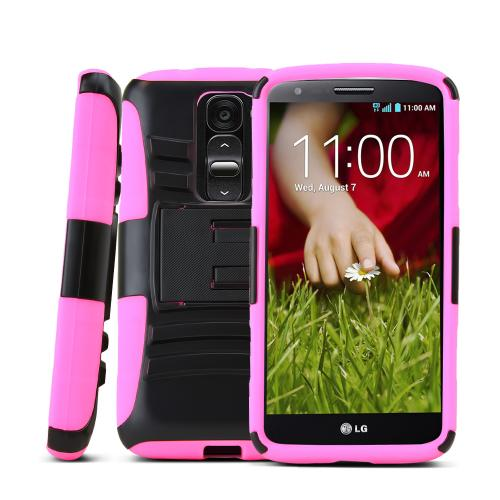 Black LG G2 Mini Hard Case w/ Kickstand on Hot Pink Silicone Skin Case w/ Holster