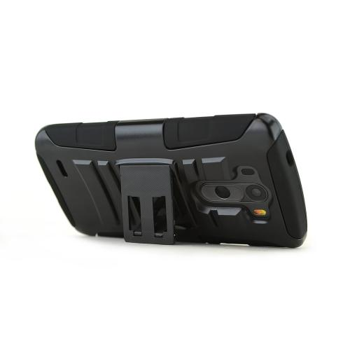 LG G3 Case, [Black]  Heavy Duty Dual Layer Hybrid Holster Case with Kickstand and Locking Belt Swivel Clip
