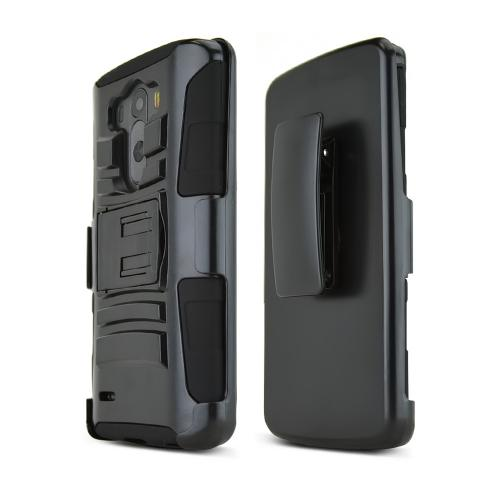 Black LG G3 Hard Case w/ Kickstand on Black Silicone Skin Case w/ Holster - Great Protection!
