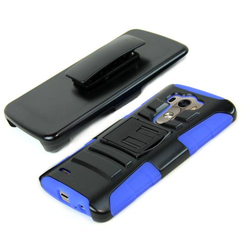 Black LG G3 Hard Case w/ Kickstand on Blue Silicone Skin Case w/ Holster - Great Protection!