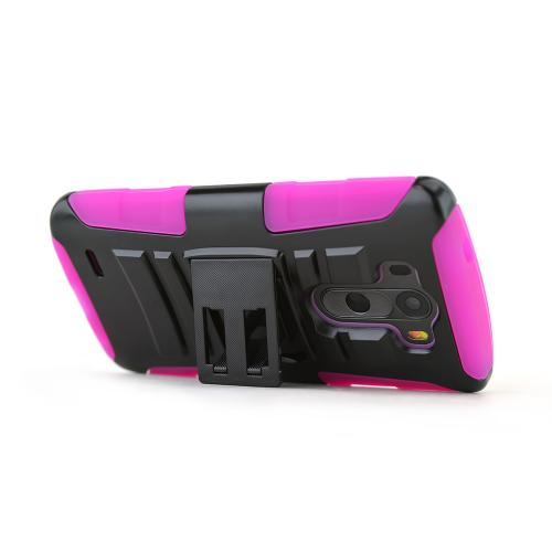 LG G3 Case, [Hot Pink/ Black]  Heavy Duty Dual Layer Hybrid Holster Case with Kickstand and Locking Belt Swivel Clip
