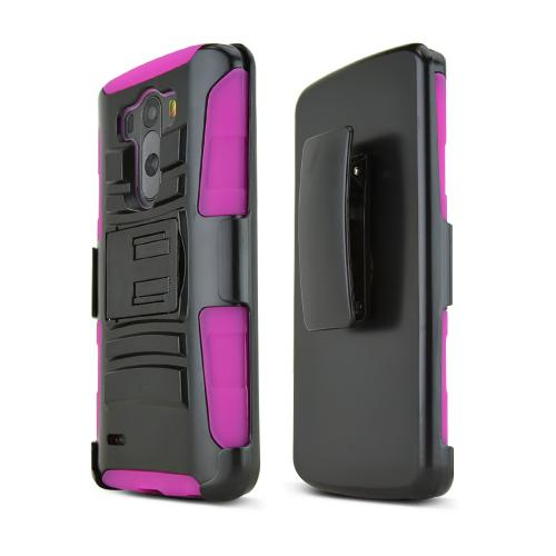 Black LG G3 Hard Case w/ Kickstand on Hot Pink Silicone Skin Case w/ Holster - Great Protection!