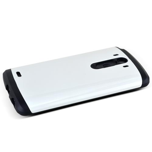 LG G3 Case, [White/ Black]  Heavy Duty Protective Dual Layer Rugged Bumper Hybrid Case