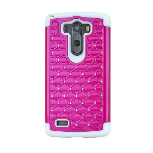 Hot Pink LG G3 Hard Cover w/ Bling Over White Silicone Skin Case