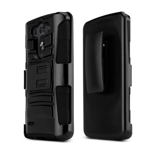 Black LG G3 Mini Dual Layer Hard Case w/ Kickstand on Black Silicone Skin Case w/ Holster - Great Protection!