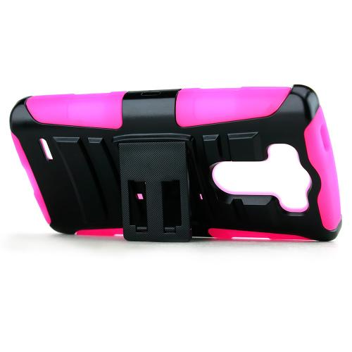 Black LG G3 Mini Dual Layer Hard Case w/ Kickstand on Hot Pink Silicone Skin Case w/ Holster - Great Protection!