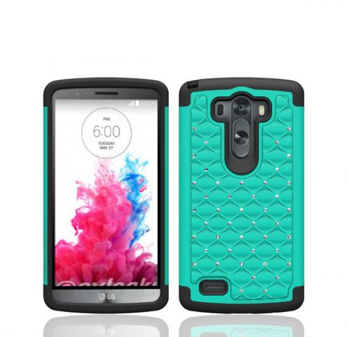 Dark Mint LG G3 Dual Layer Hard Cover w/ Bling Over Black Silicone Skin Case