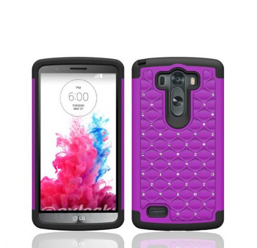 LG G3 Case, [Purple]  Dual Layer Hard Cover w/ Bling Over Black Silicone Skin Case