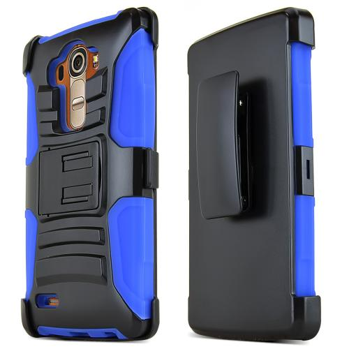 LG G4 Case, REDshield [Blue] Heavy Duty Dual Layer Hybrid Holster Case with Kickstand and Locking Belt Swivel Clip