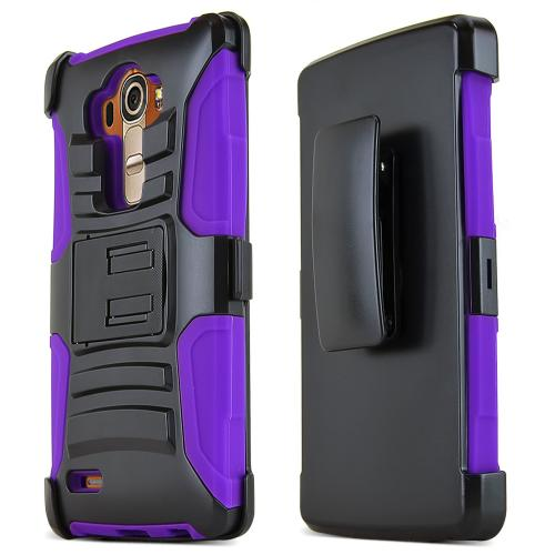 LG G4 Case, REDshield [Purple] Heavy Duty Dual Layer Hybrid Holster Case with Kickstand and Locking Belt Swivel Clip