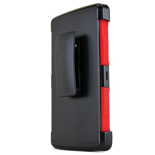 LG G4 Case, REDshield [Red] Heavy Duty Dual Layer Hybrid Holster Case with Kickstand and Locking Belt Swivel Clip