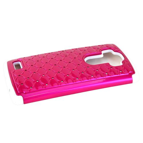 LG G4 Case, [Hot Pink] Hard Plastic on Silicone Dual Layer Hybrid Case Cover
