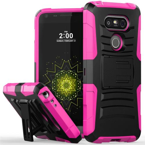 LG G5 Holster Case, REDshield® [Hot Pink] Supreme Protection Hard Plastic on Silicone Skin Dual Layer Hybrid Case