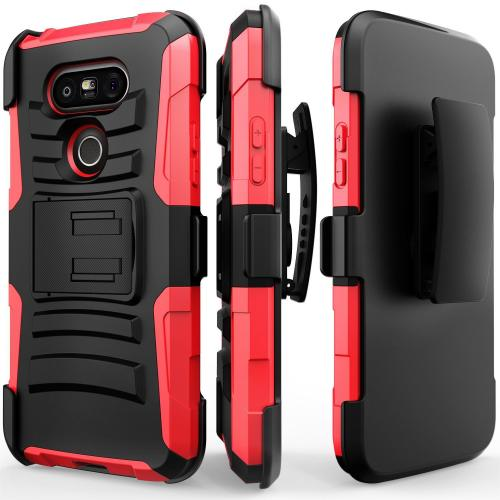 LG G5 Holster Case, REDshield® [Red] Supreme Protection Hard Plastic on Silicone Skin Dual Layer Hybrid Case