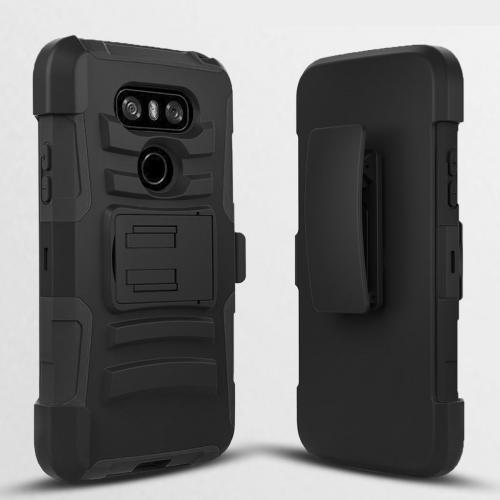 LG G6 Case, Dual Layer Hard Case w/ Kickstand on Black Silicone Skin Case w/ Holster [Black] with Travel Wallet Phone Stand