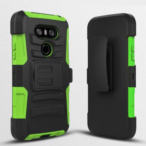 LG G6 Case, Dual Layer Hard Case w/ Kickstand on [Neon Green] Silicone Skin Case w/ Holster [Black/ Neon Green] with Travel Wallet Phone Stand