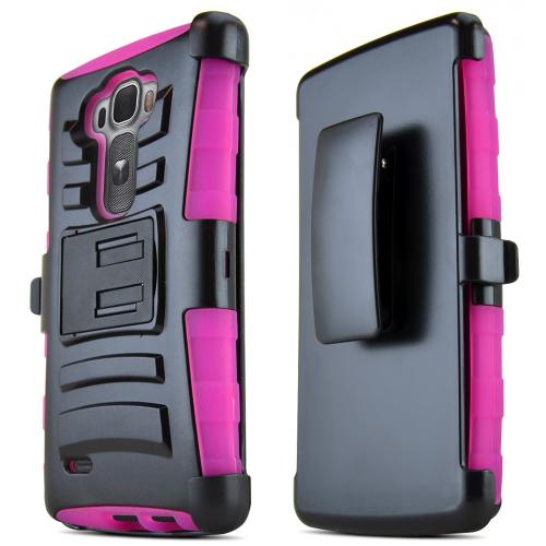 G Flex 2 Case, [Hot Pink / Black] Supreme Protection Plastic on Silicone Dual Layer Hybrid Case for LG G Flex 2