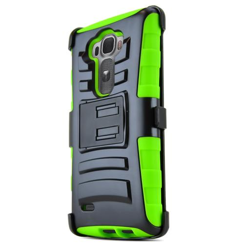 G Flex 2 Case, [Neon Green / Black] Supreme Protection Plastic on Silicone Dual Layer Hybrid Case for LG G Flex 2