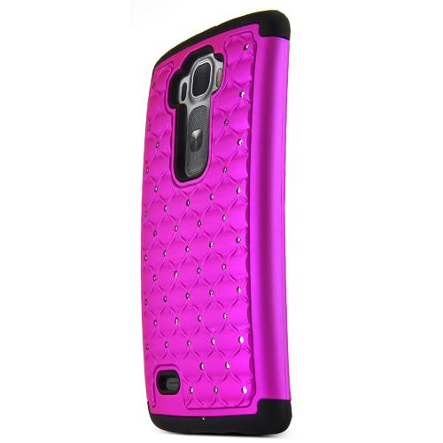 G Flex 2 Case, [Purple / Black Bling] Supreme Protection Plastic on Silicone Dual Layer Hybrid Case for LG G Flex 2