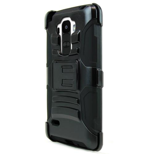 LG G Stylo Heavy Case,  [Black]  Heavy Duty Dual Layer Hybrid Holster Case with Kickstand and Locking Belt Swivel Clip
