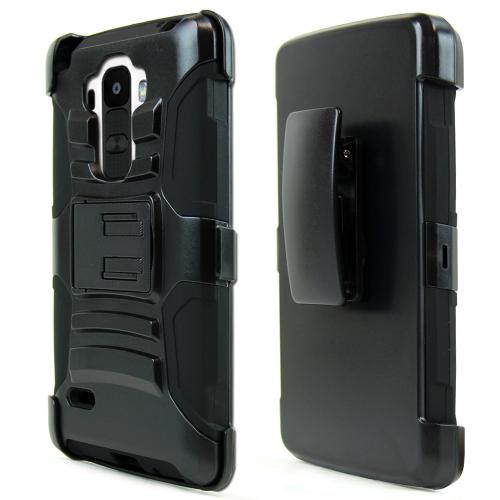 [LG G Stylo] Heavy Case,  [Black]  Heavy Duty Dual Layer Hybrid Holster Case with Kickstand and Locking Belt Swivel Clip