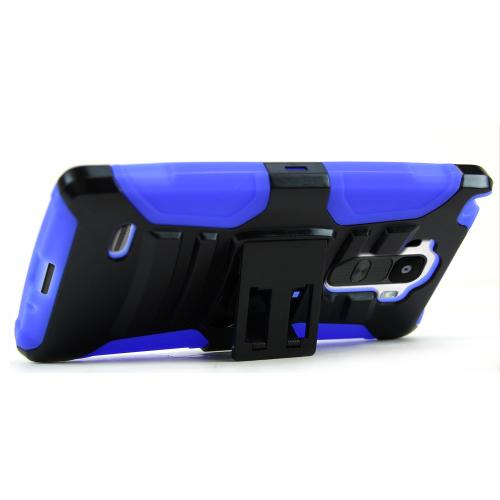 [LG G Stylo] Heavy Case,  [Black/ Blue]  Heavy Duty Dual Layer Hybrid Holster Case with Kickstand and Locking Belt Swivel Clip