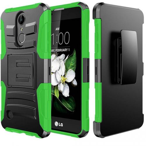 LG K10 (2017) Case, Dual Layer Hard Case w/ Kickstand on Silicone Skin Case w/ Holster [Neon Green] with Travel Wallet Phone Stand