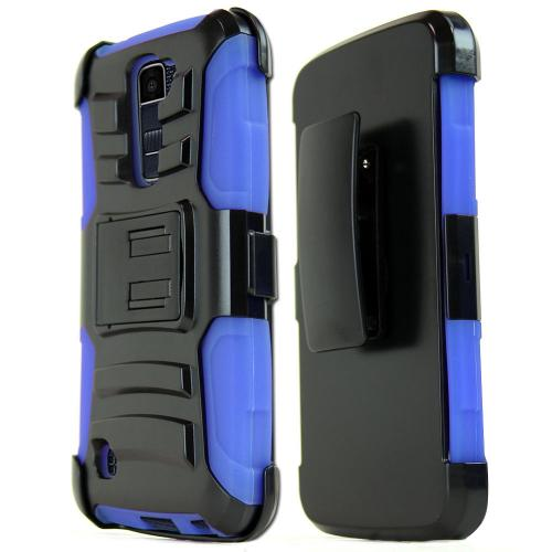[LG K10] Case, REDshield [Blue] Heavy Duty Dual Layer Hybrid Holster Case with Kickstand and Locking Belt Swivel Clip