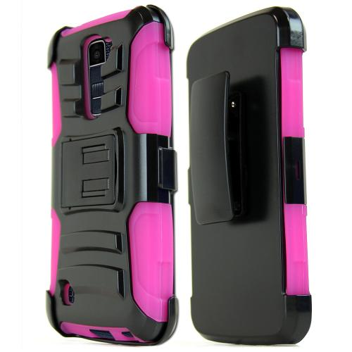 [LG K10] Case, REDshield [Hot Pink] Heavy Duty Dual Layer Hybrid Holster Case with Kickstand and Locking Belt Swivel Clip