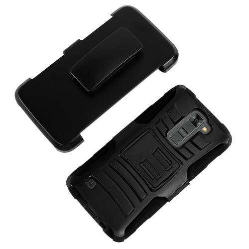 LG K7/ LG Tribute 5 Case,  [Black]  Heavy Duty Dual Layer Hybrid Holster Case with Kickstand and Locking Belt Swivel Clip