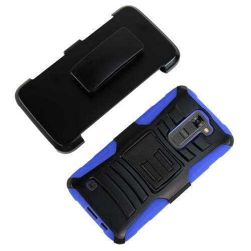 LG K7/ LG Tribute 5 Case,  [Blue]  Heavy Duty Dual Layer Hybrid Holster Case with Kickstand and Locking Belt Swivel Clip