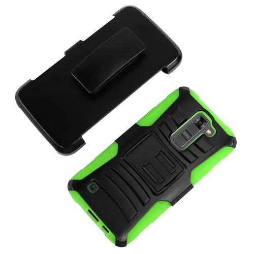 LG K7/ LG Tribute 5 Case,  [Neon Green]  Heavy Duty Dual Layer Hybrid Holster Case with Kickstand and Locking Belt Swivel Clip