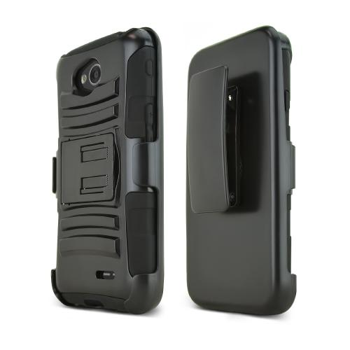 Black LG Optimus Exceed 2/ LG L70 Hard Case w/ Kickstand on Black Silicone Skin Case w/ Holster - Great Protection!