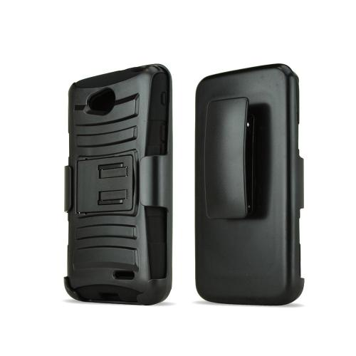 Black LG L90 Hard Case w/ Kickstand on Black Silicone Skin Case w/ Holster
