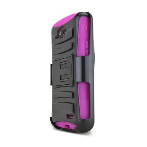 Black LG L90 Hard Case w/ Kickstand on Hot Pink Silicone Skin Case w/ Holster - Great Protection!