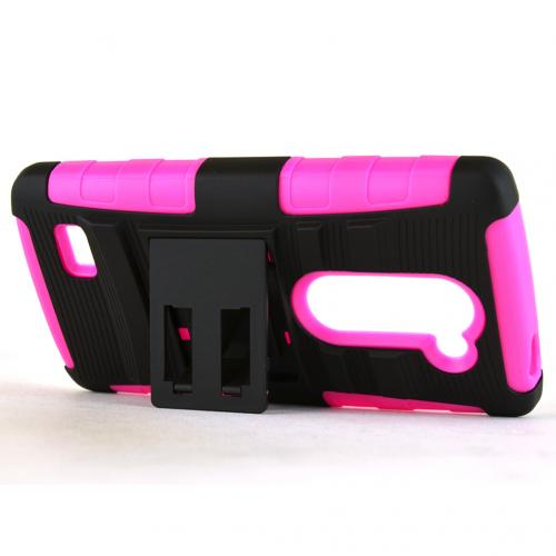 LG LEON (T-Mobile, MetroPCS) Holster Case, [Hot Pink] Supreme Protection Hard Plastic on Silicone Skin Dual Layer Hybrid Case w/ Holster - Fantastic Protection!
