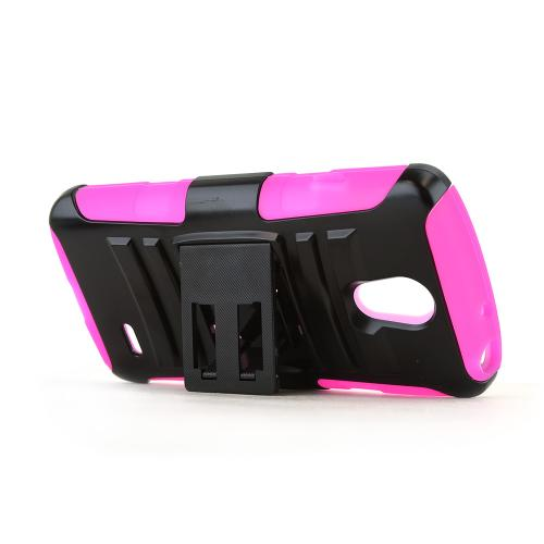 Black LG Lucid 3 Hard Case w/ Kickstand on Hot Pink Silicone Skin Case w/ Holster
