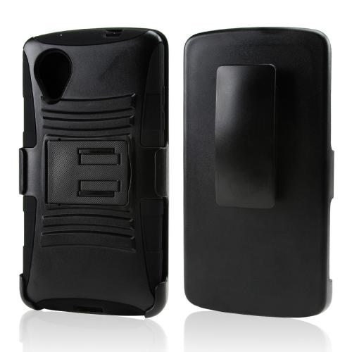 Black Hard Case w/ Kickstand on Silicone Skin Case w/ Holster for LG Google Nexus 5