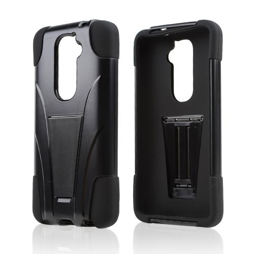 Black Hard Case w/ Kickstand on Black Silicone Skin Case for LG G2 (AT&T, T-Mobile, & Sprint)