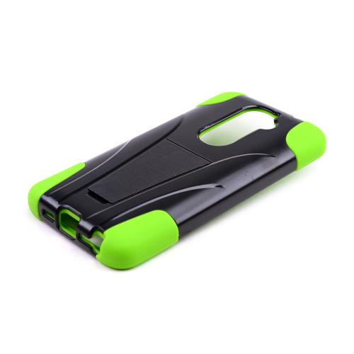 Black Hard Case w/ Kickstand on Neon Green Silicone Skin Case for LG G2 (AT&T, T-Mobile, & Sprint)