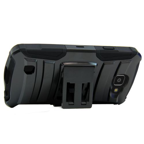 [LG Optimus Zone 3] Case, REDshield [Black] Heavy Duty Dual Layer Hybrid Holster Case with Kickstand and Locking Belt Swivel Clip