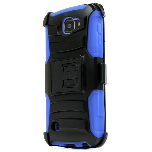 LG Optimus Zone 3 Case, REDshield [Blue] Heavy Duty Dual Layer Hybrid Holster Case with Kickstand and Locking Belt Swivel Clip