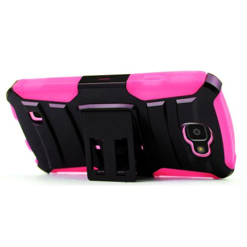 LG Optimus Zone 3 Case, REDshield [Hot Pink] Heavy Duty Dual Layer Hybrid Holster Case with Kickstand and Locking Belt Swivel Clip